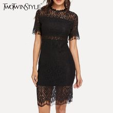 TWOTWINSTYLE Sexy Kant Jurken Voor Vrouwen Korte Mouw Hoge Taille Hollow Out Bodycon Party Jurk Vrouwelijke 2019 Zomer Mode(China)