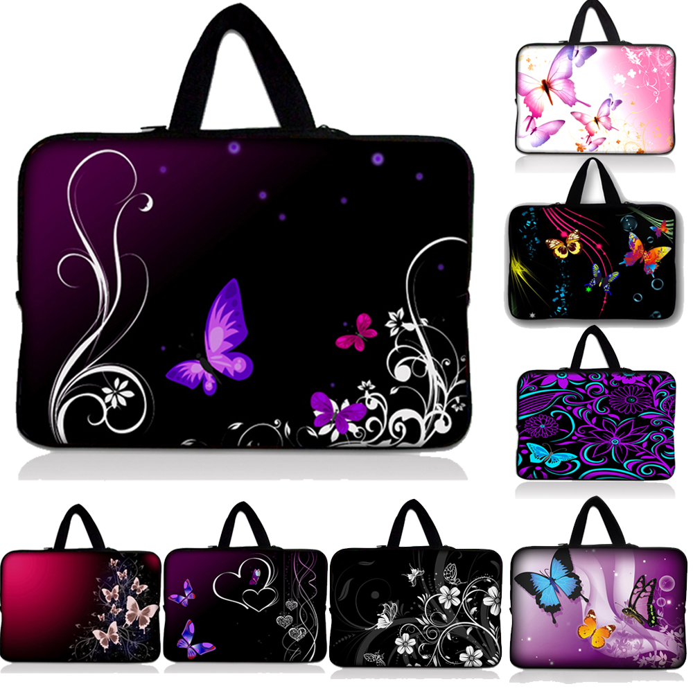 "10 ""12"" 13 ""14"" 15 ""17"" Butterfly Print Soft klēpjdatora soma Tablet Sleeve Case Neoprene Carry Bag 10-17 collu datora piezīmjdatoram"