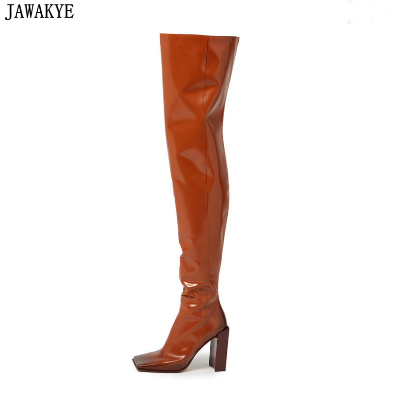 JAWAKYE 2018 White Black Brown Leather Bota Side Zip Over The Knee Women Booties Square Toe Stacked Block Heel Thigh High Boots