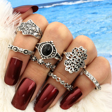 Vintage jewelry silver color blue stone moon arrow finger ring set gift for women ladies bocai silver makeup india nepal bali silver acts the role of by hand rainbow blue moon stone ring