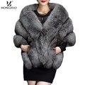 HONGZUO серый Зимний fox искусственного меха пальто женщины Теплый мода черный синтетического меха мыс пальто Белые толстые плюшевые furry шавель 2016 pc231