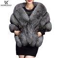 HONGZUO Winter gray fox faux fur coat women Warm fashion black synthetic fur cape coat White thick plush furry shawel 2016 pc231