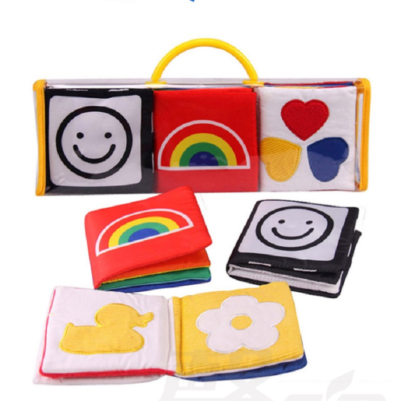 Black /White Baby Soft Cloth Book Kids Infant First Colorful Educational Toys For Children Stimulate Vision Pack Of 3 Gift