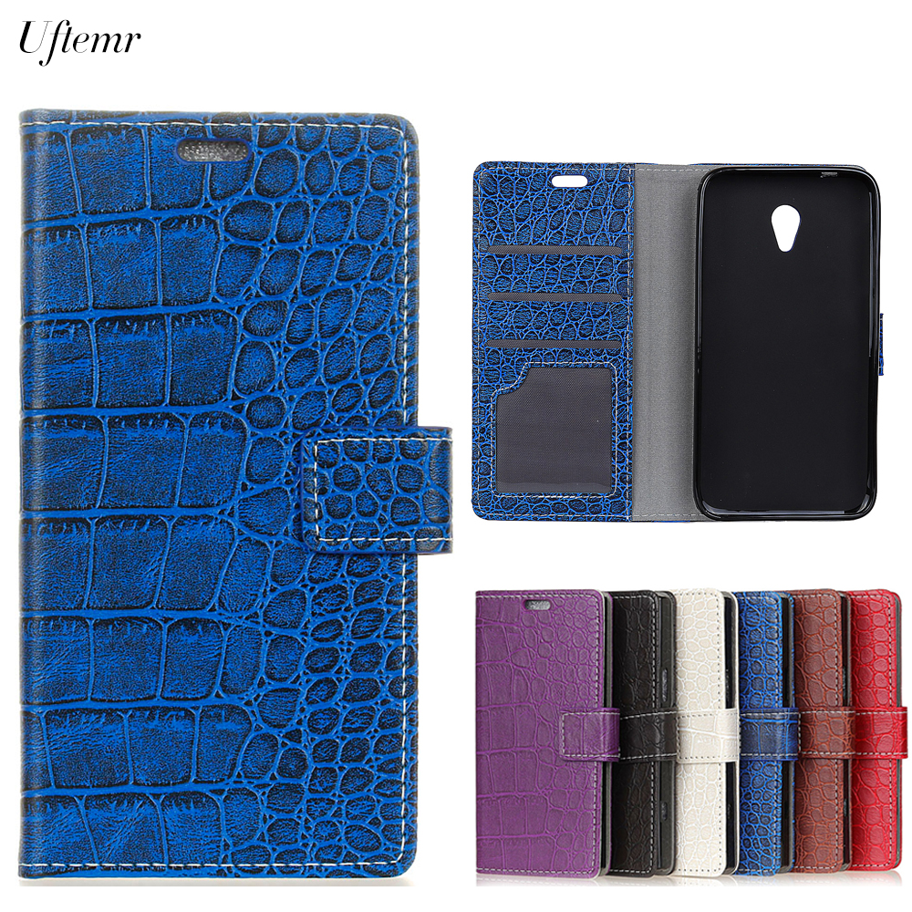 Uftemr Vintage Crocodile PU Leather Cover For Alcatel U5 3G Protective Silicone Case Wallet Card Slot Phone Acessories