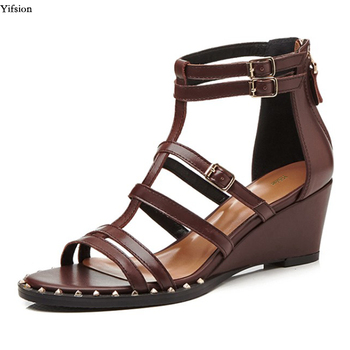 Olomm Women Gladiator Sandals Wedges High Heel Sandals Sexy Rivets Open Toe Black Brown Party Shoes Ladies US Plus Size 3-10.5