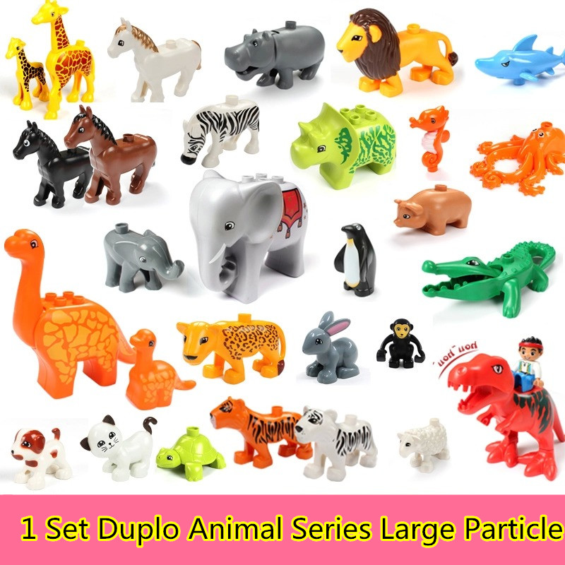 20Pcs/set Duplo Animal Series Large Particle Building Blocks Zoo Set Kids Toys DIY Brick Compatible With lego Duplo role family worker figure character large particle building blocks original accessory toys compatible with duplo diy kids gift