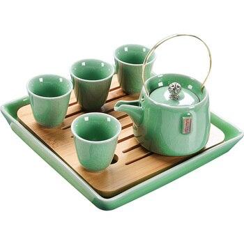 Hot sale tea set of ceramic contracted travel tea set dry tea tray suit elder brother kiln teapot portable girder pot