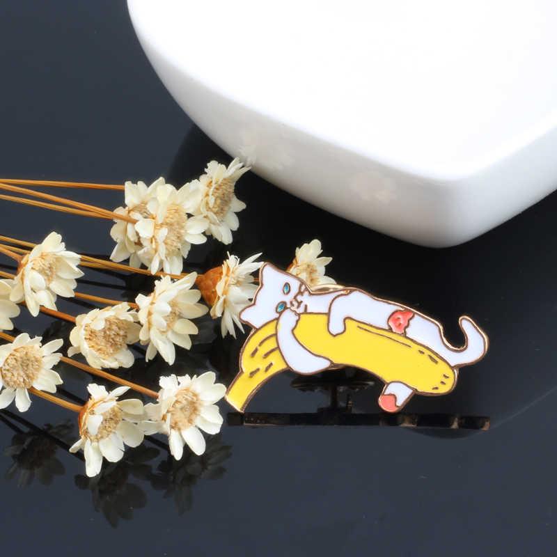 2 шт./компл., эмаль, кот, Шпилька в виде банана, брошь с животными, детский кронштейн, металлический значок, мужские и женские рубашки, нагрудные булавки, забавные украшения