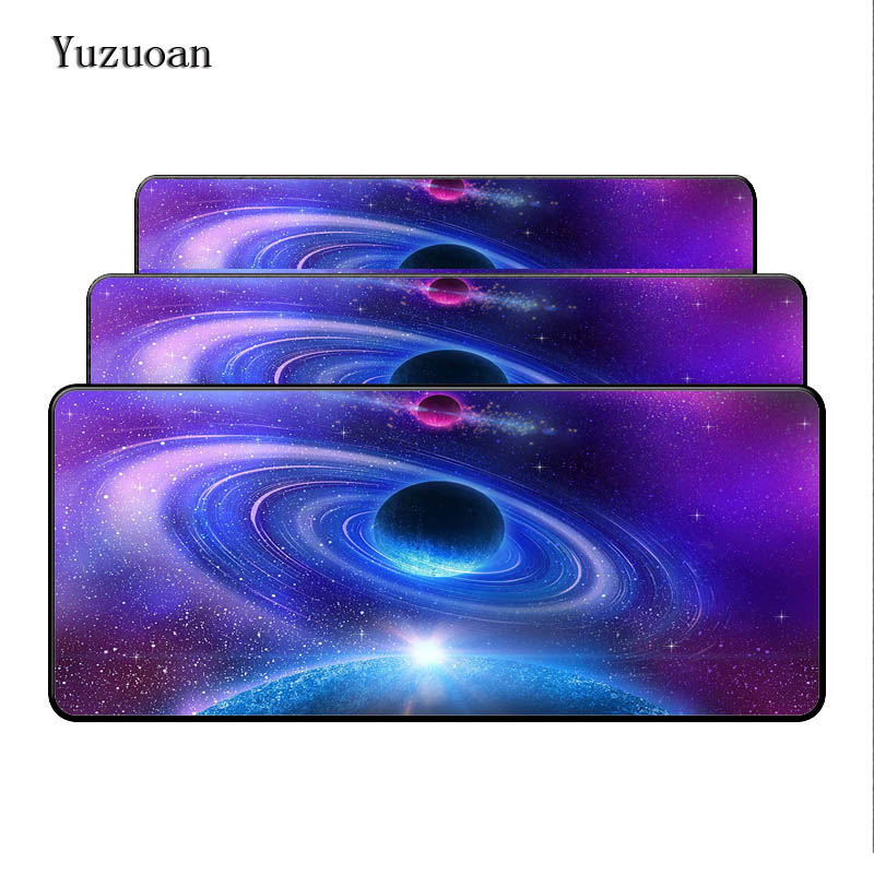 100% Quality Yuzuoan Customized 2018 New Large Gaming Desk Mouse Pad 900x400x5mm With The Milky Way Blue Space Print Edge Locking As Gift