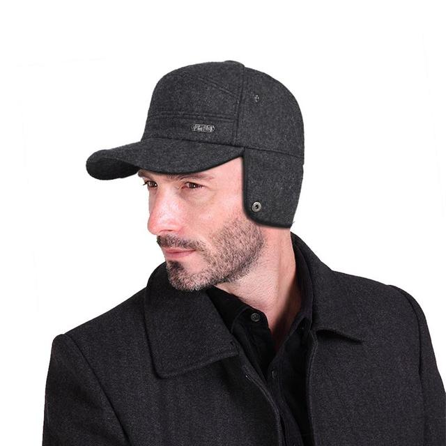 0098d1bd VBIGER Thickened Woolen Baseball Hat High-end Winter Baseball Cap Warm  Earmuffs Cap for Men