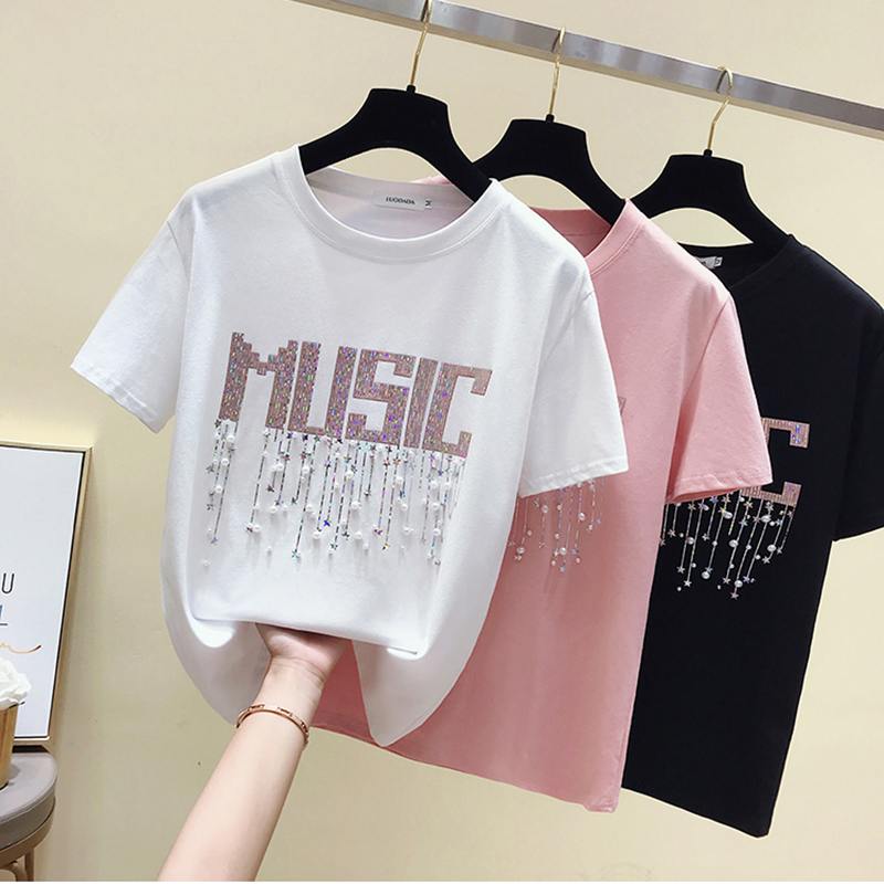 Shiny Lurex t shirt women clothes summer tops mujer verano 2019 Pearls Beaded top cotton t-shirt women tshirt tee shirt femme image