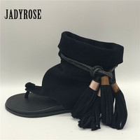 Jady Rose Black Suede Women Gladiator Sandals Fringed Flip Flops Beach Flat Shoes Woman Casual Lace Up Tassels Flats
