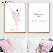 NDITB Ballet Dance Girl Wall Art Poster Nursery Quotes Canvas Print Cartoon Painting Decorative Picture Baby Kid Room Decoration