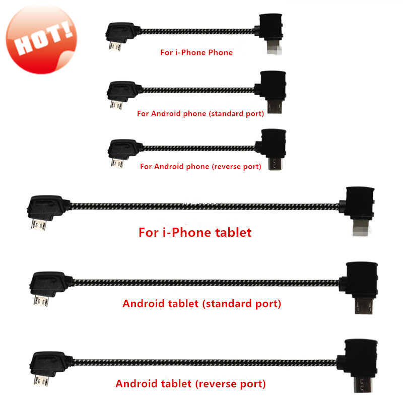 Remote Control Data Cable For DJI Mavic 2 /Air/Pro Connecting Phone Tablet Connector Line Nylon Line For DJI Mavic Pro/AIR Drone 30cm otg data cable for dji spark mavic 2 pro zoom air mavic pro micro usb type c adapter connector phone tablet to controller