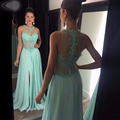 Luxury Mint Green Chiffon Prom Dresses 2017 Beaded Side Split Long Graduation Formal Party Dress Vestido De Festa