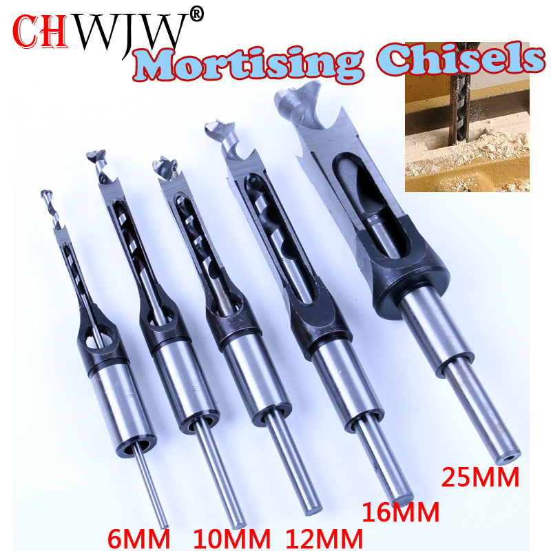 1pc HSS Square Hole Saw Mortise Chisel Wood Drill Bit With Twist Drill