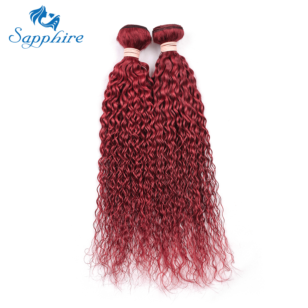 Sapphire Bundles Pre-Colored Non Remy Brazilian Kinky Curl Human Hair 1 Bundles Color Wine Red Kinky Curly Hair 100G/Pack