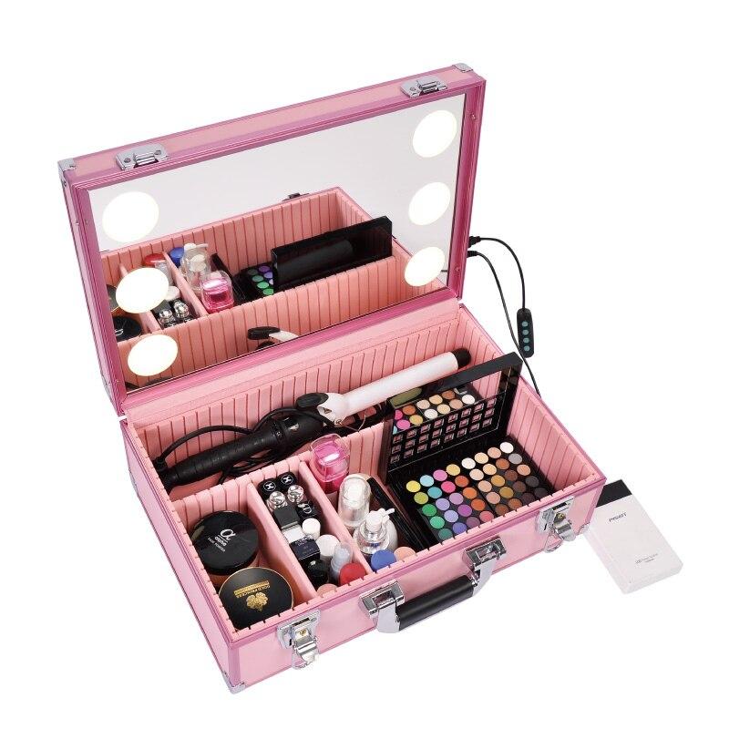 Professional Makeup Case with Light Cosmetic Box LED 6 lights Beauty box without Legs preço maleta de maquiagem
