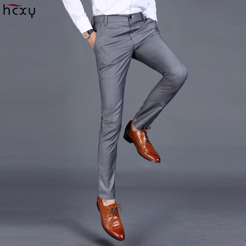 HCXY 2019 Summer Men's Smart Casual Pants Men Slim Straight Suit Pants Male Trousers Thin Smooth Fabric Solid Classic Trousers