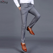 HCXY 2019 Summer Mens Smart Casual Pants Men Slim Straight Suit Pants Male Trousers Thin Smooth fabric Solid classic trousers