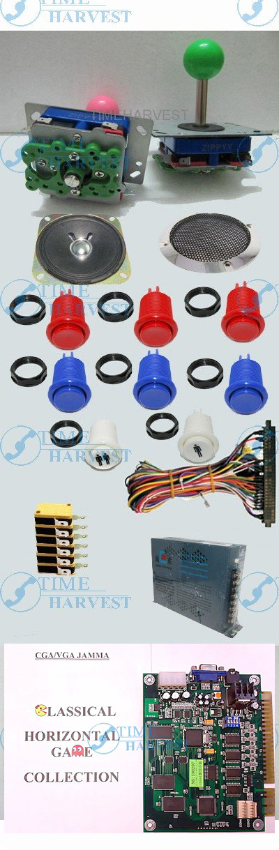 1set Arcade parts Bundles kit with 19 in 1 PCB 16A Power Supply L Joystick Push button Microswitch Harness Speaker for cabinet arcade parts bundles kit with joystick pushbutton microswitch player button speaker 60 in 1 game pcb to build up arcade machine