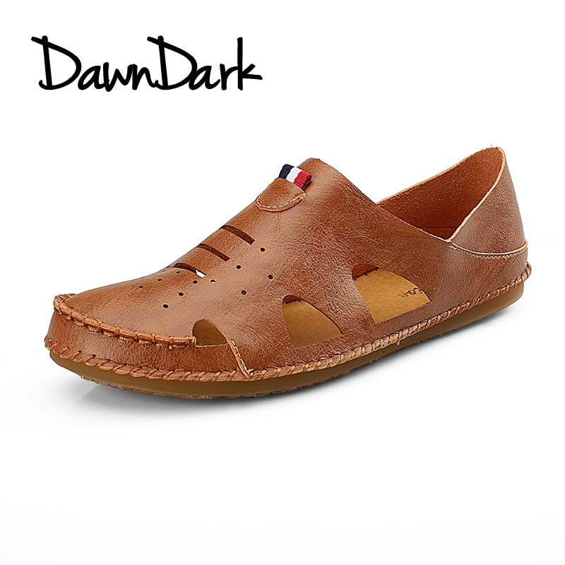 Men Leather Sandals Outdoor Breathable Male Beach Sports Shoes Summer Slip on Man Antiskid Sneakers Light Slippers ...