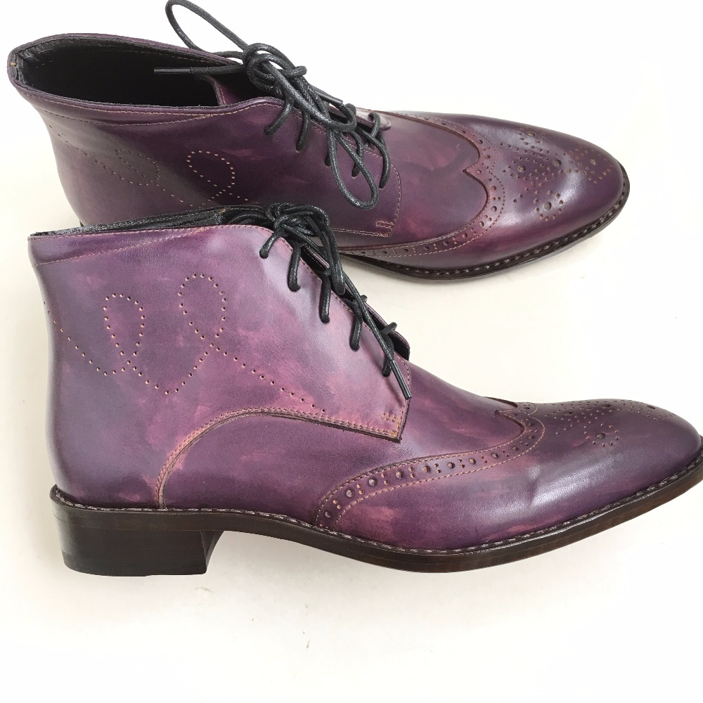 Sipriks 37 ~ 45 masculina Goodyear welted Botas púrpura para hombre ...