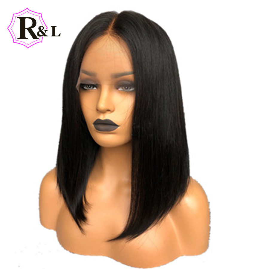 Rulinda Short Lace Front Human Hair Wigs Brazilian Remy Hair Bob Wig with Pre Plucked Hairline