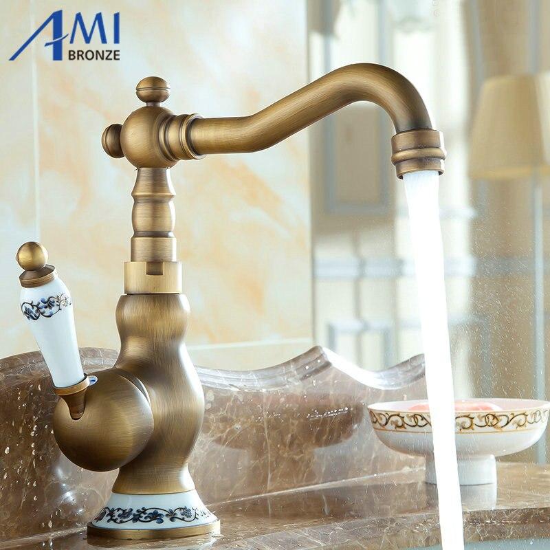 8 Antique Brass Kitchen Faucets Brass & Porcelain Base Bathroom Sink Basin Faucet Mixer Tap 9065AP 360 Swivel kitchen faucets 360 swivel antique brass porcelain mixer tap bathroom basin antique faucet