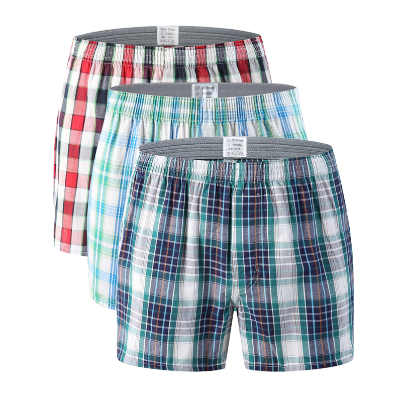 2XL For Mens 3 of Boxers Plaid Shorts Underwear Lot Cotton Briefs Pairs Pack S