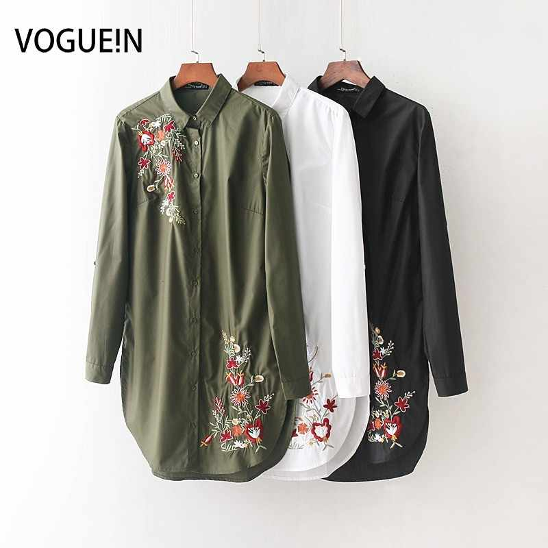 VOGUEIN New Womens Fashion Floral Embroidery Lapel Long Sleeve White Green Black Long Shirt Blouse Tops Wholesale