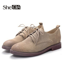 Купить с кэшбэком Flats British Style Oxford Shoes Women Genuine Leather Oxfords Flat Heel Casual Shoes Lace Up Womens Shoes Retro Brogues