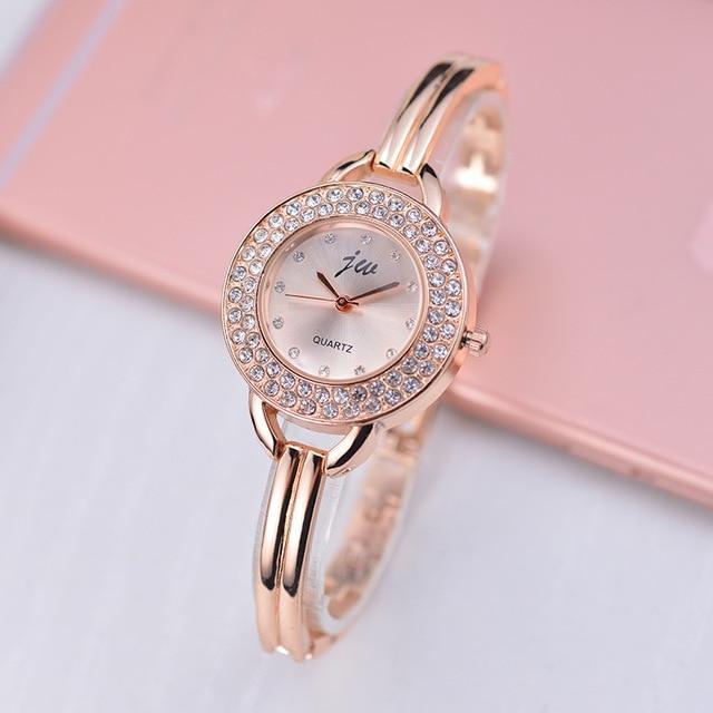 Fashion Women Famous Brand JW Luxury Crystal Rhinestone Rose Gold Womens Analog