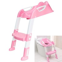 Adjustable Baby Toddler Kids Potty Seat Toilet Training Safety Ladder Chair Step Non slip Folding With Armrest For Kid Children