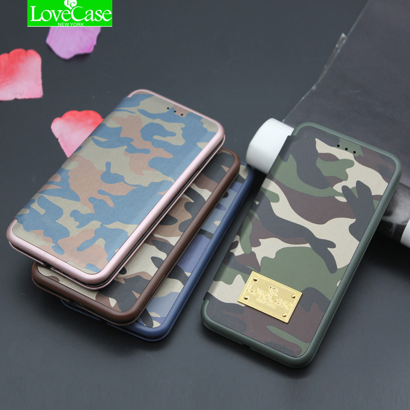 LoveCase Original i7 7 Plus Army Camouflage Phone Cover Case For iPhone 7 Plus 7Plus Case Seashell Flip PU Leather phone bag