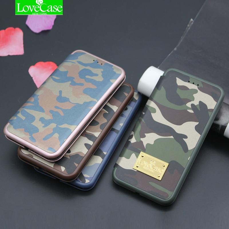 LoveCase Originale i7 7 Plus Esercito Camuffamento Caso Della Copertura Del Telefono Per iPhone 7 Più 7 Più la Cassa Seashell Vibrazione Cuoio DELL'UNITÀ di elaborazione sacchetto del telefono
