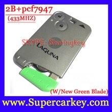 Бесплатная Доставка (2 шт./лот) 2 кнопка ключ для Renault Laguna espace с pcf7947 чип и Аварийный Ключ 433 МГЦ