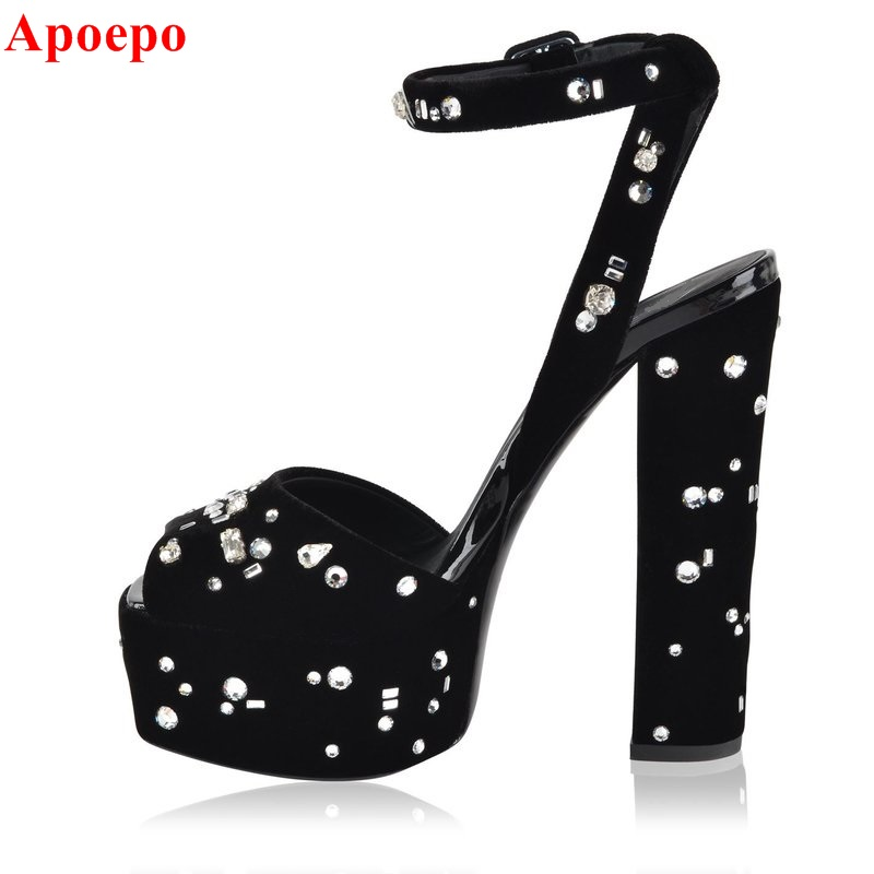Hot Selling Black Velvet Leather High Platform Sandals Ankle Strap Crystal Embellished Peep Toe High Heel Sandals Sexy Pumps hot selling crystal embellished wedding heels sexy peep toe platform pumps woman high heel shoes