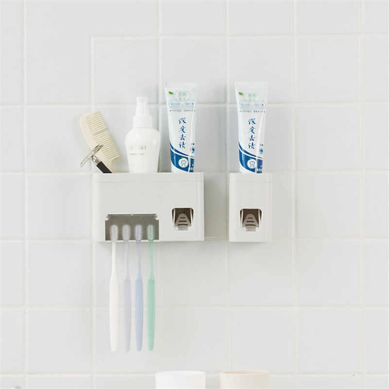 Prosty/wielofunkcyjny zestaw do mycia łazienki suszarka do montażu na ścianie automatyczna pasta do zębów dozownik do wyciskania z szczoteczki do zębów zestaw świeczników