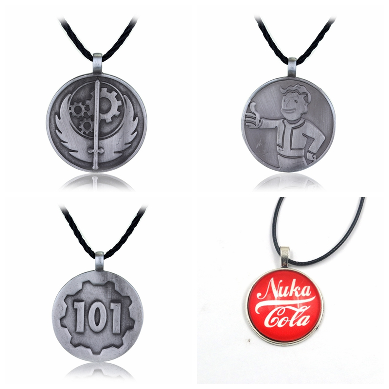 Game Series Fallout 4 Necklaces Pip Boy Nuka Cola Fallout Necklace Four Type Metal Pendant For Boys Gift