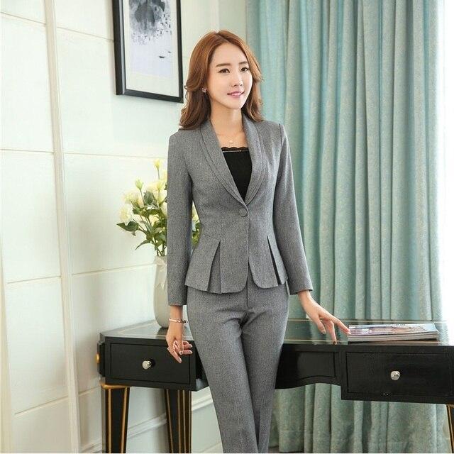cc87691a0545 Formal Female Grey Blazers Women Jackets Elegant Ladies Office Uniform  Style Work Wear Clothes Blaser Feminino