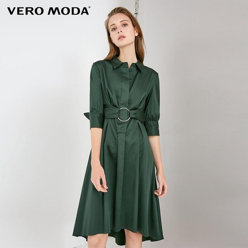 Vero moda Turn-down Collar Mangas Pura Vestido de Camisa do Metal Anel | 31836Z512