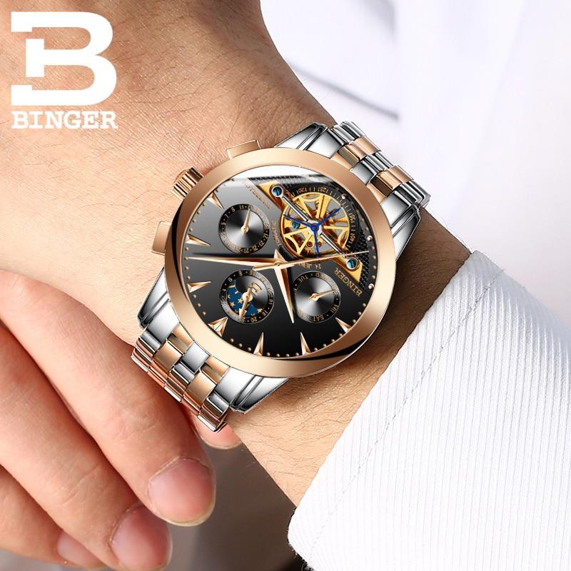 4b53a9e10cbe 2017 Швейцария Роскошные мужские часы Бингер бренд Механические часы ...