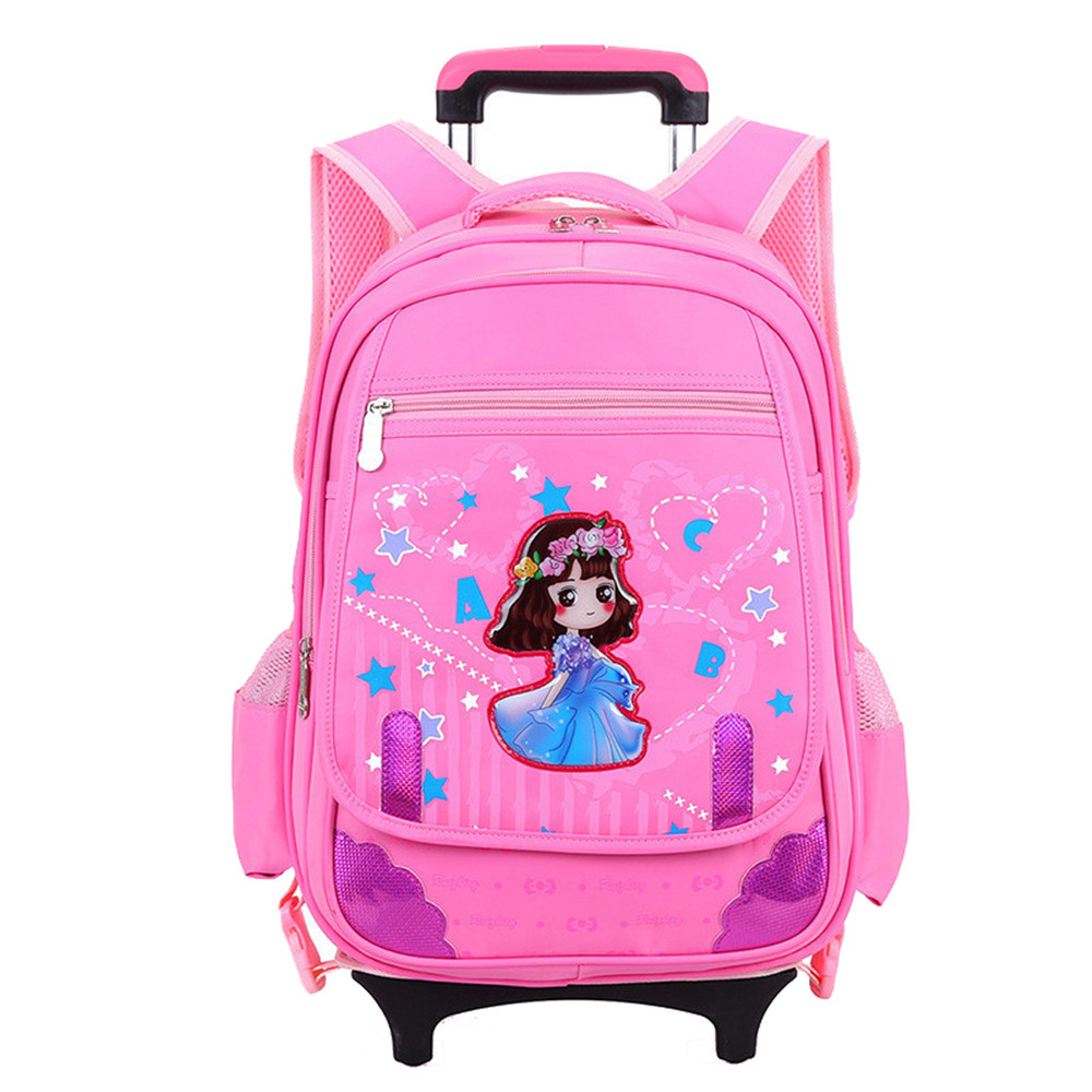 Hot Sales Lovely Removable Children School Bags with 2 6 Wheels Climb Stair Trolley Backpack Children
