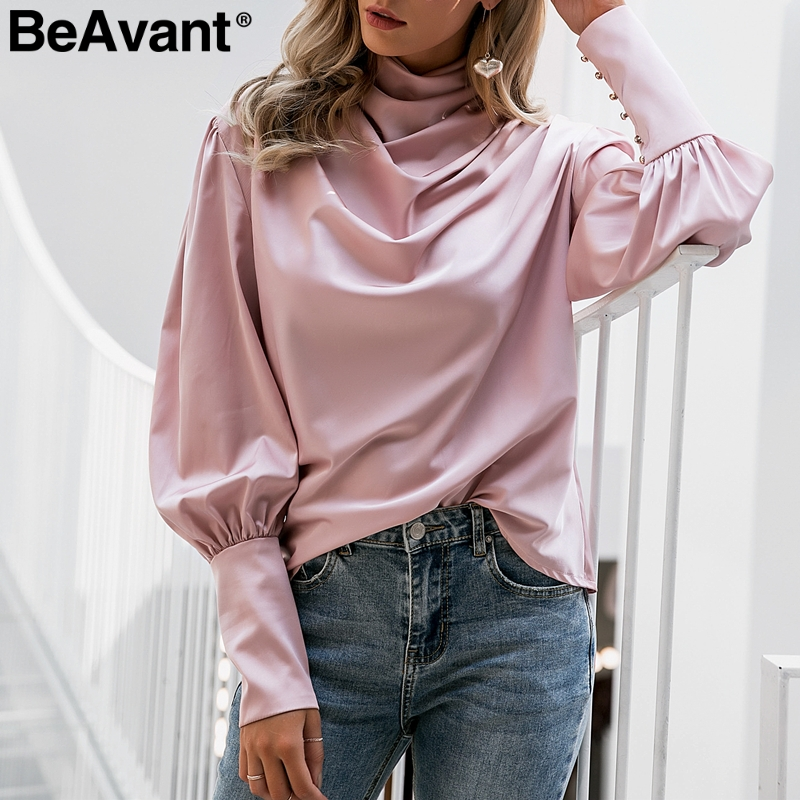 BeAvant Vintage Turtle Neck Satin Blouse Women Pink Long Sleeve Pleated Luxury Blouses Shirt Elegant Button Fashion Party Tops