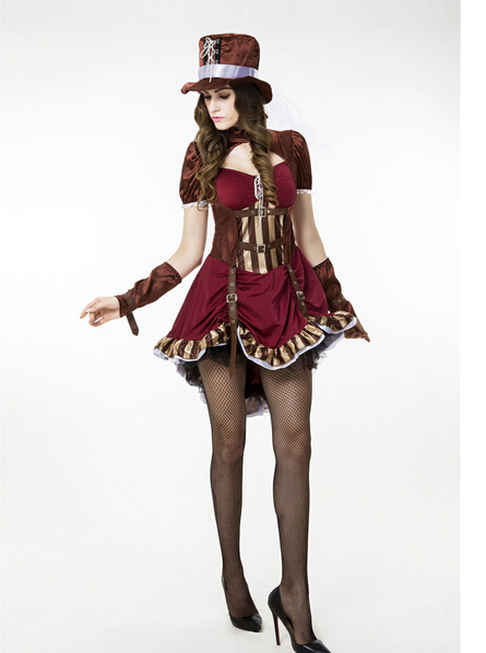 cosplay party sexy uniform fashion pirates of the Caribbean clothes  women  adult carnival halloween costume dress&hat&gloves