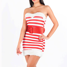 Fashion Warm Knit Christmas Costume Dress Red And White Stripe Mini Short Strapless Autumn Sleeveless Santa Claus Fancy Dresses