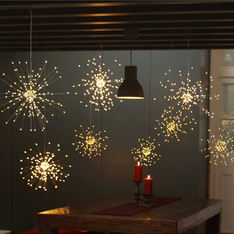 DIY 花火 Led ストリングの妖精ライト折りたたみバッテリ駆動 Gerlyanda リモート制御のための屋外のクリスマスの装飾