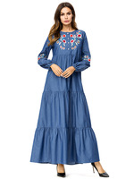 2019 Muslim Denim Dress Abayas For Women Clothing Dubai Flowers Embroidery Turkey Turkish Kaftan Islamic Robe Maxi Dresses 7289#