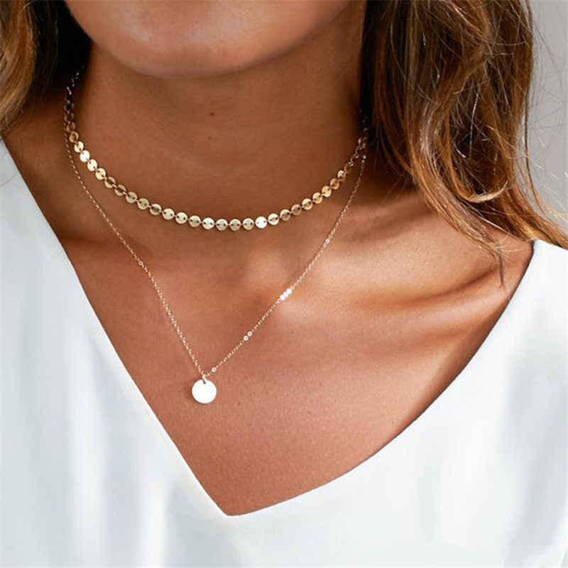 2019 Summer Simple Gold Coin Layered Choker Necklace For Women Multi Layer Chocker Necklaces Pendant collar femme Jewelry Gift